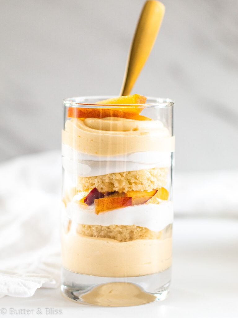 Single serving of peach trifle