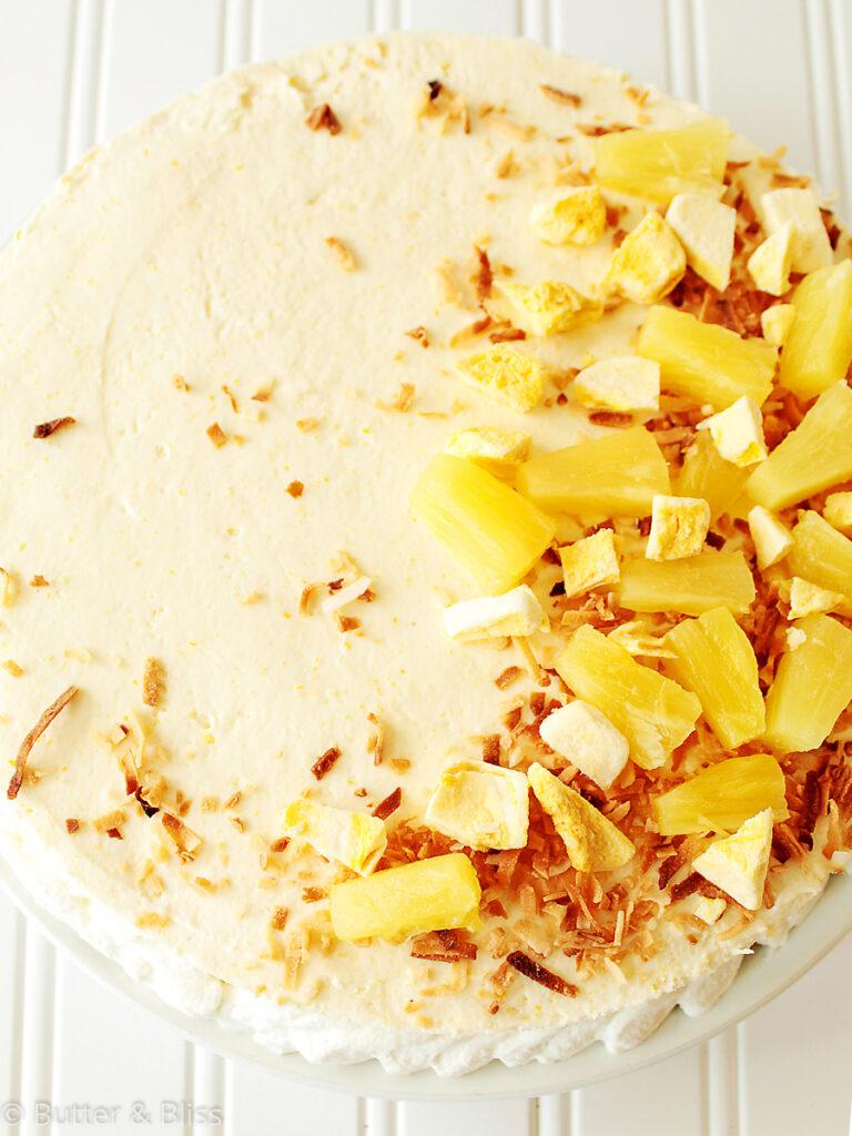 Pineapple mango icebox cake on a platter
