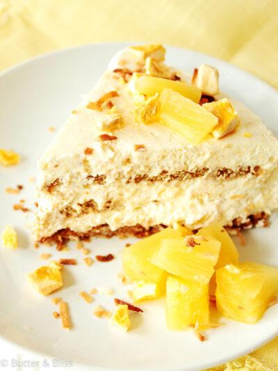 Slice of pineapple icebox cake on a plate