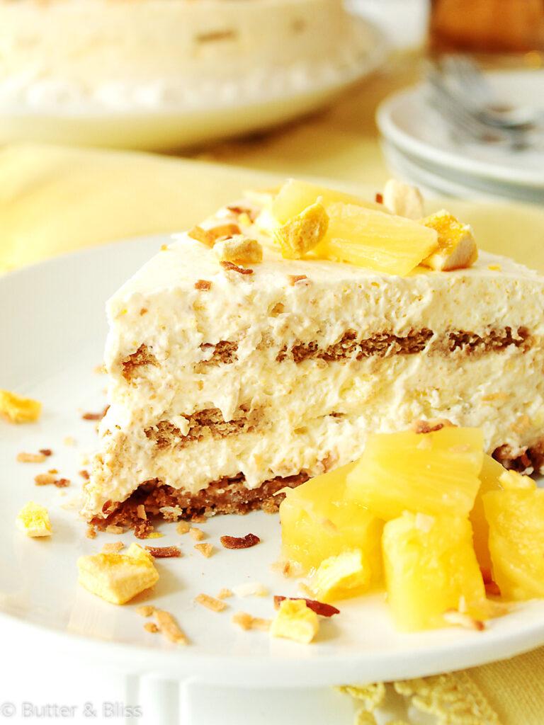 Tropical icebox cake slice on a plate