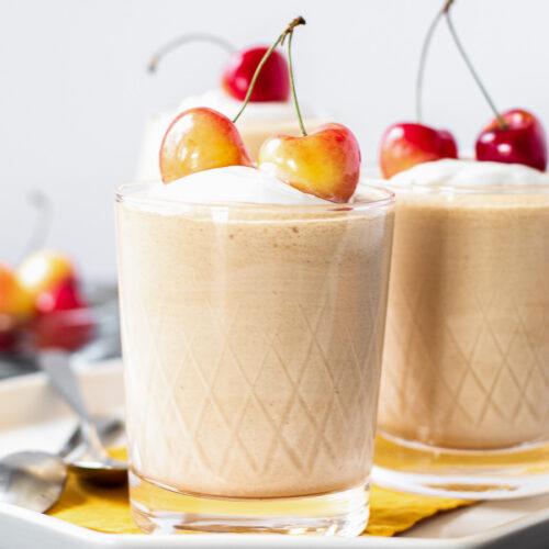 Rainier cherry mousse cups on a platter