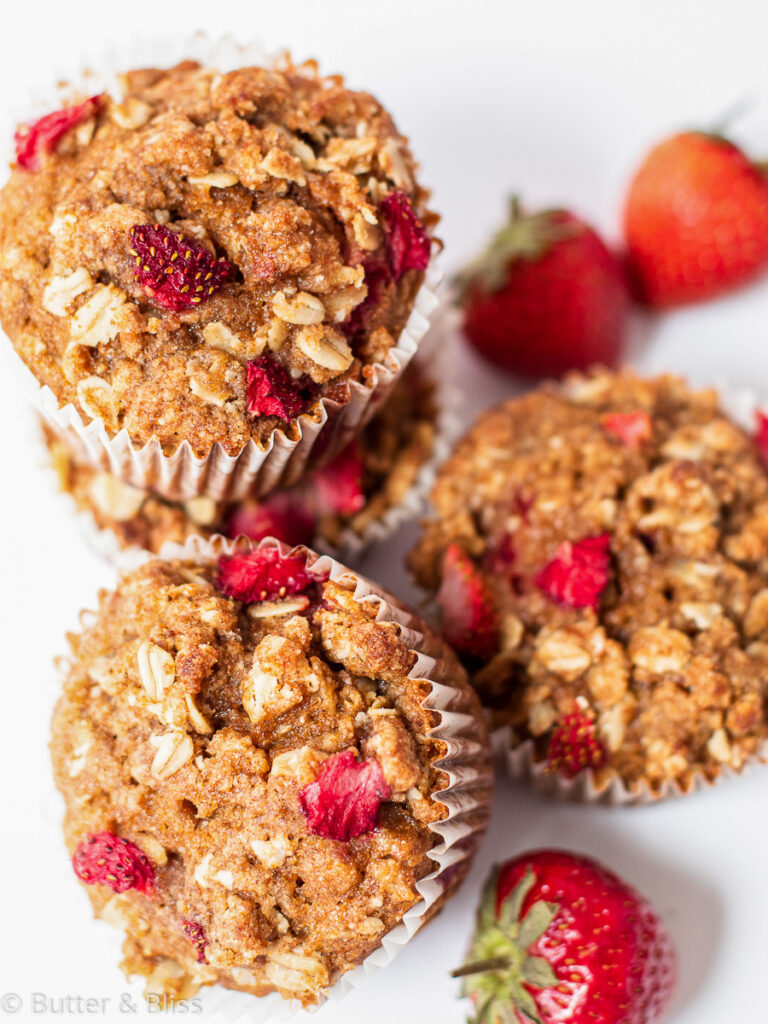 Stack of strawberry streusel muffins