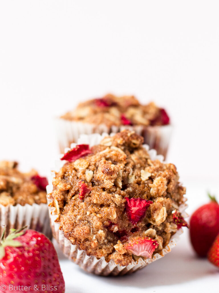 Close up of a strawberry muffin