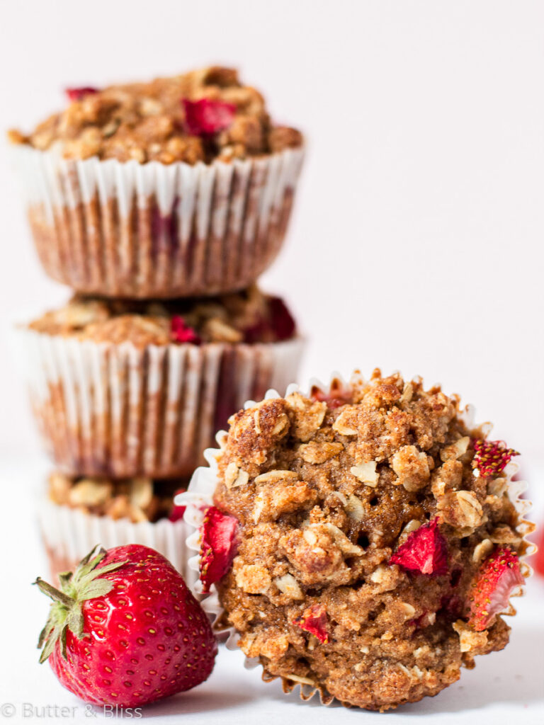 Stack of breakfast muffins with fruit