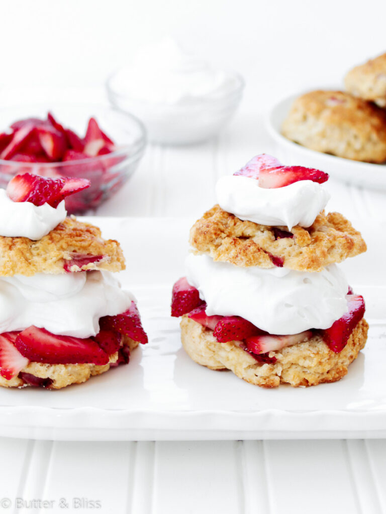 Strawberry shortcakes on a platter