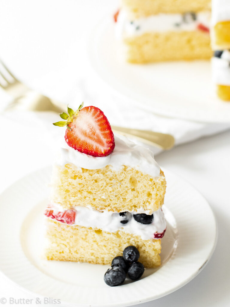 Berry and vanilla cake slice on a plate
