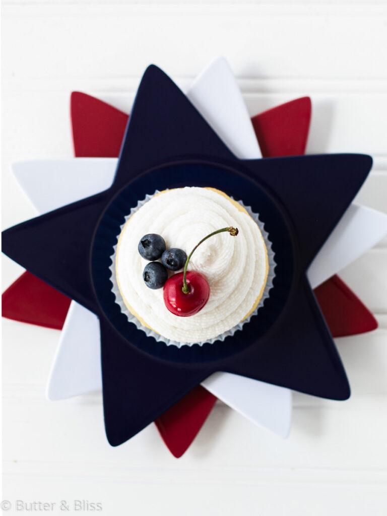Top of vanilla cupcake on star plates