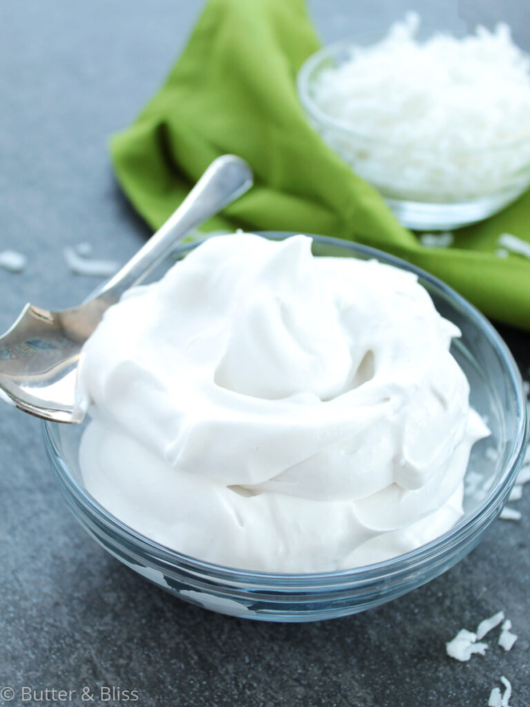 Bowl of whipped coconut cream