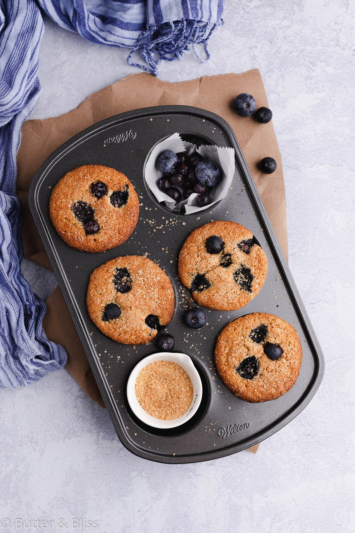 Blueberry muffins in a muffin pan