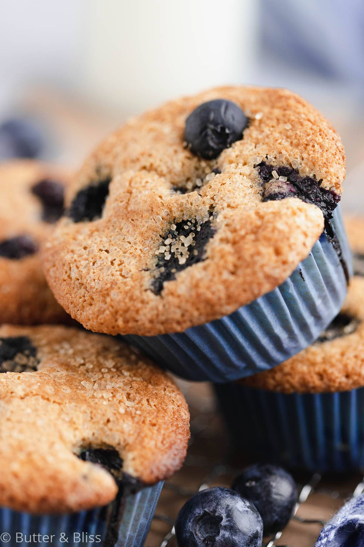 Close up of a gluten free blueberry muffin