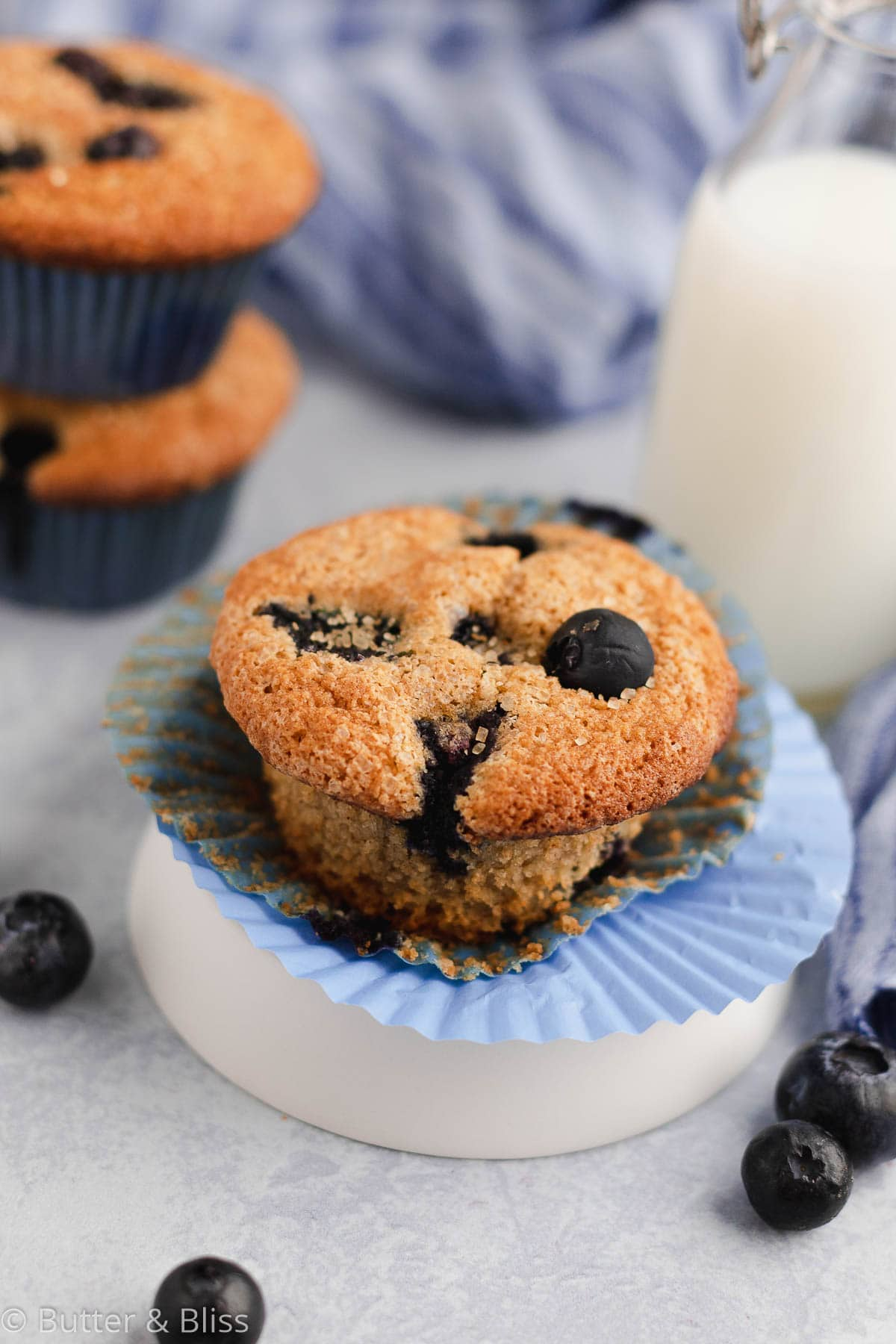 Blueberry muffin on a small plate