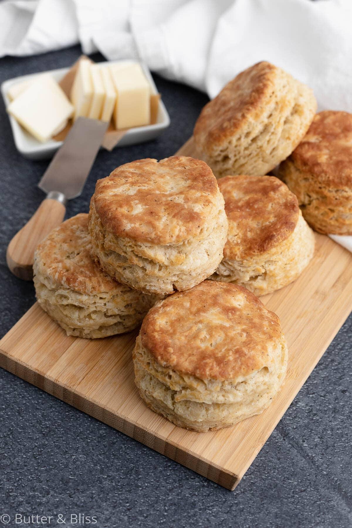 Buttermilk biscuits on a cutting board