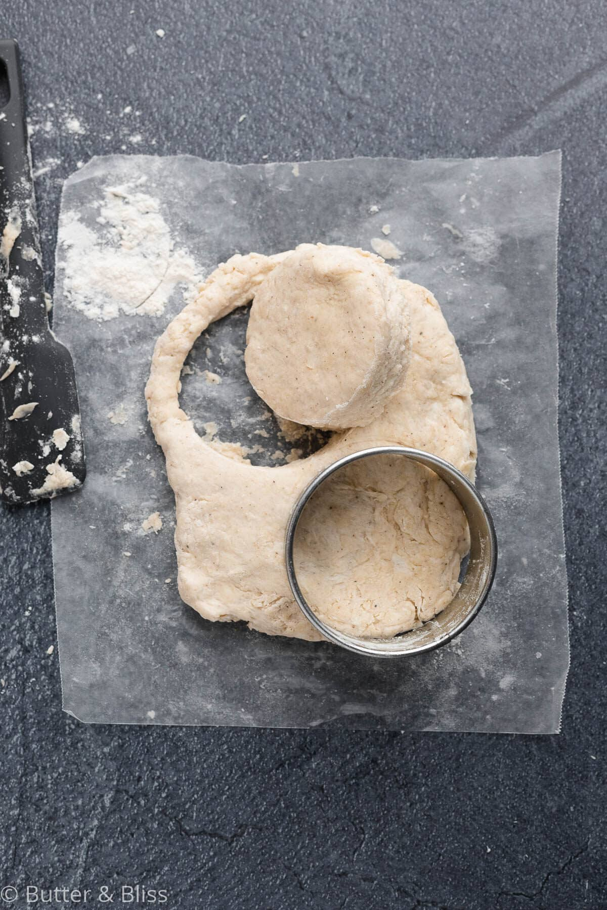 Dough with biscuit cutters