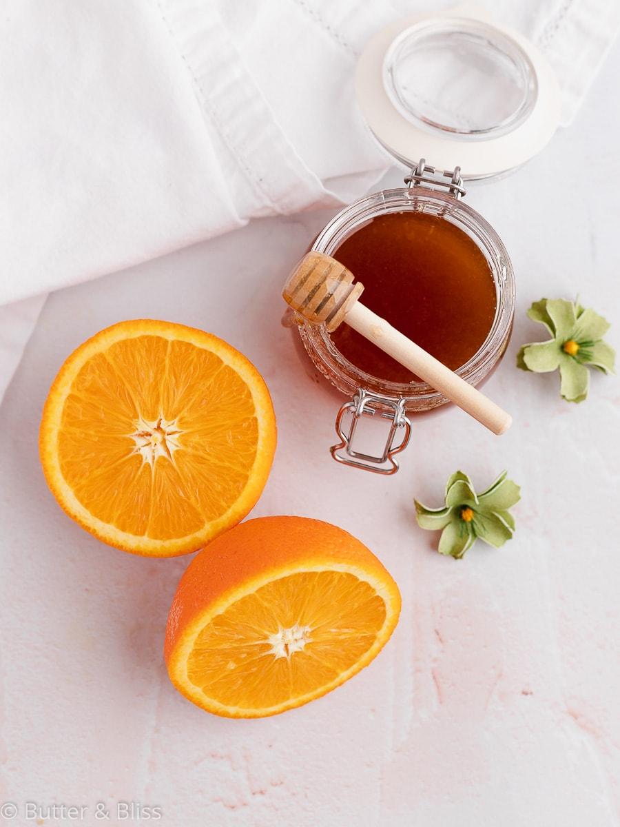 Ingredients for honey orange cakes