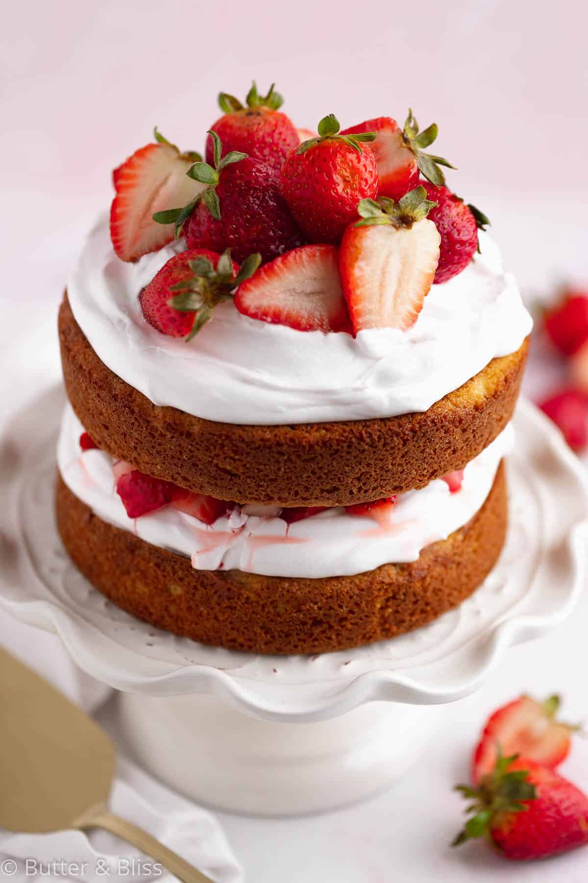 Mini strawberry shortcake cake with fresh strawberries