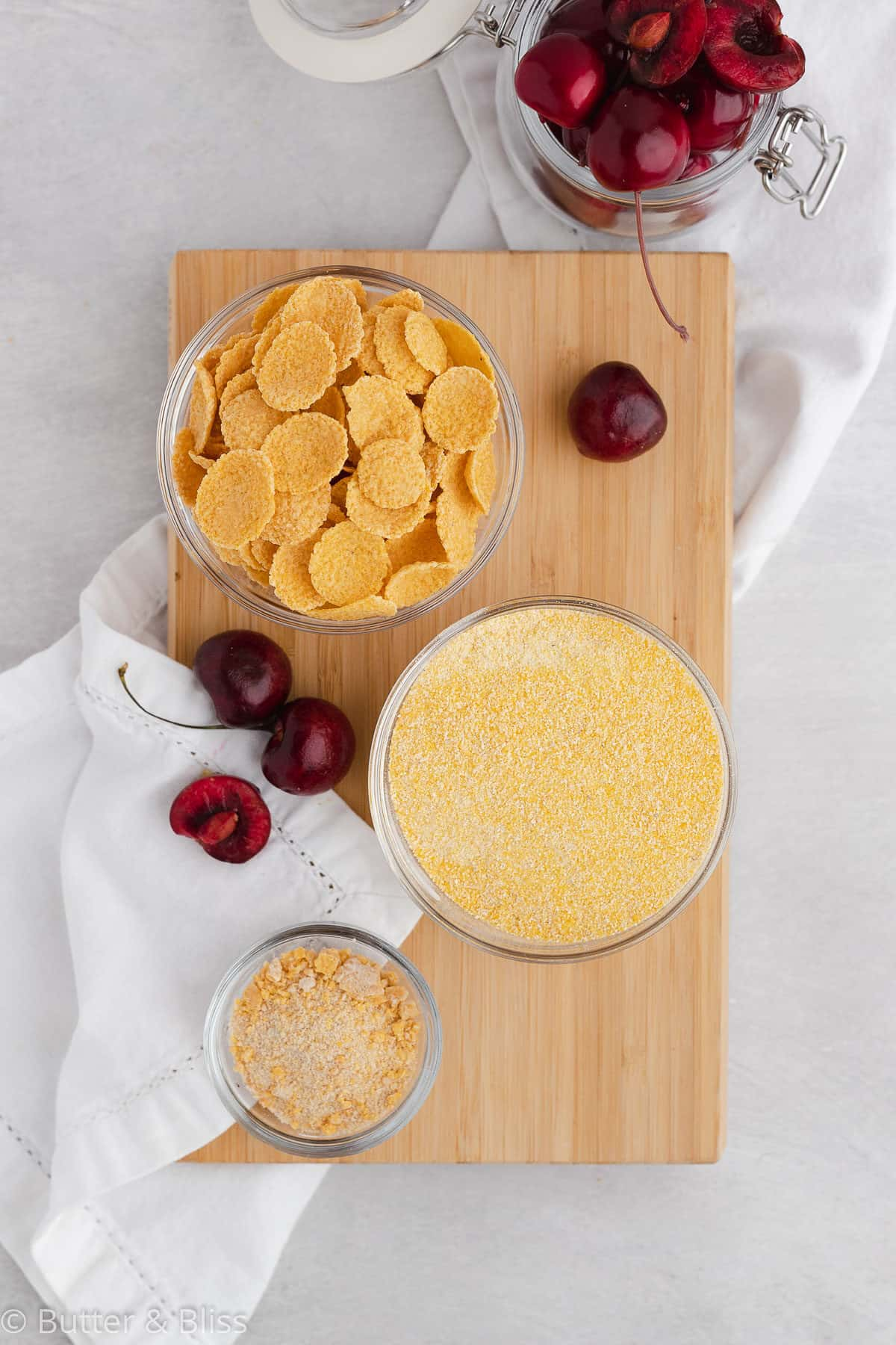 Ingredients for cherry cornmeal scones with cornflake crunch