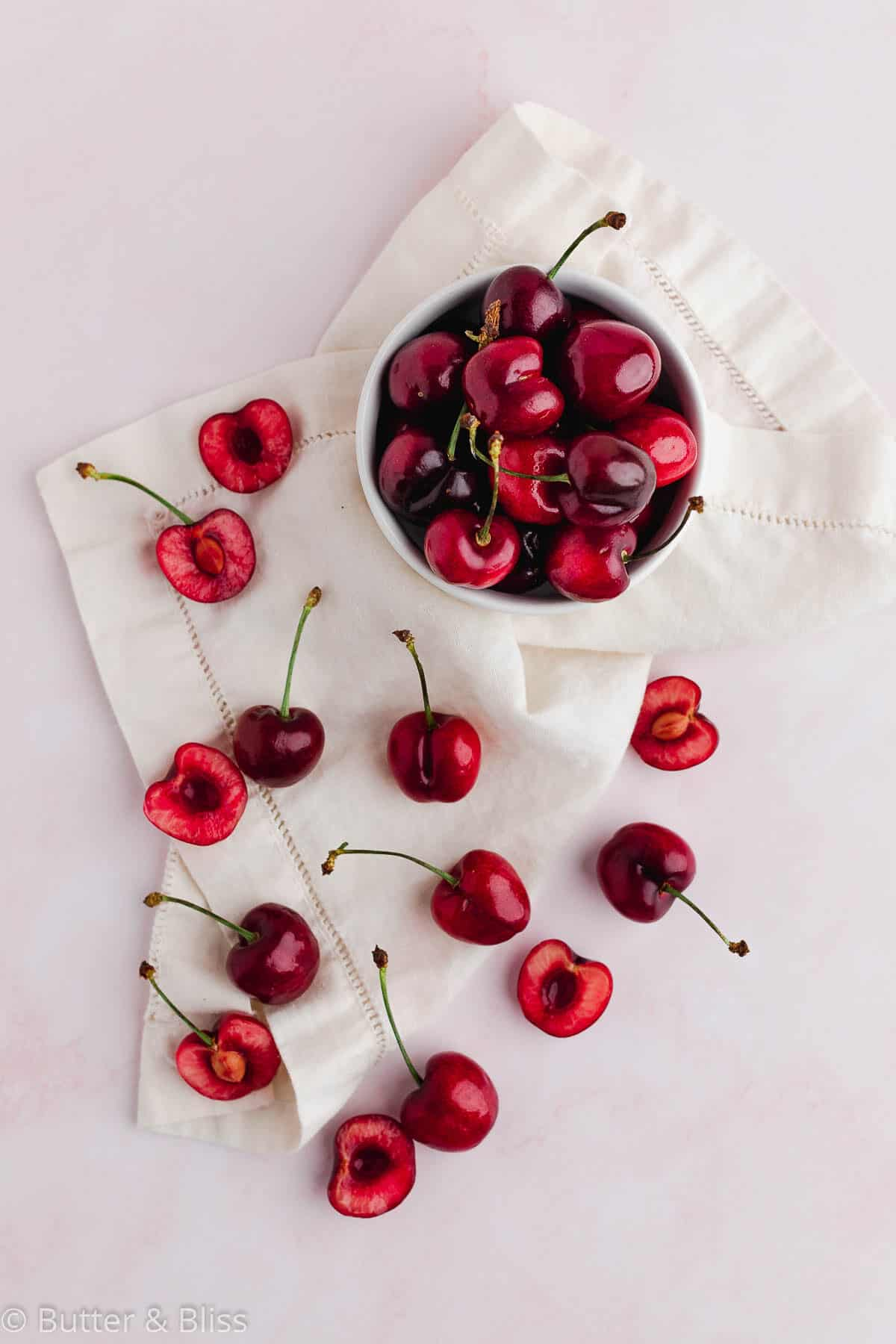 Fresh cherries on a table
