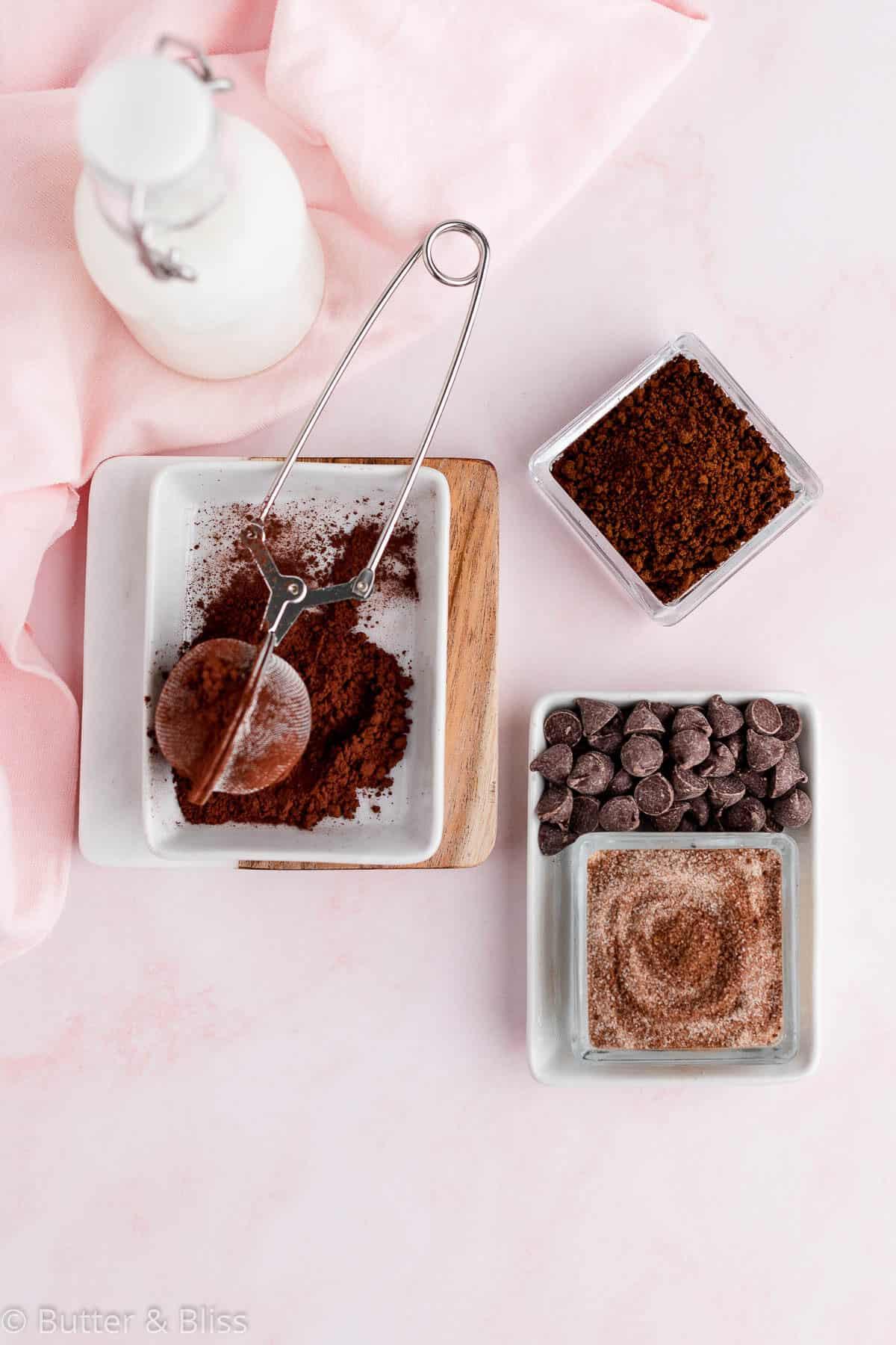 Ingredients in a mini mocha coffee cake
