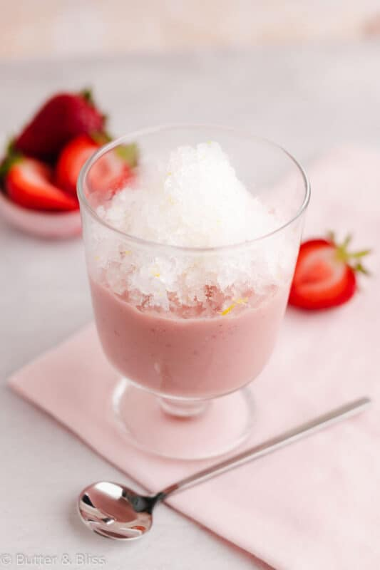 Parfait glass of strawberry lemonade granita