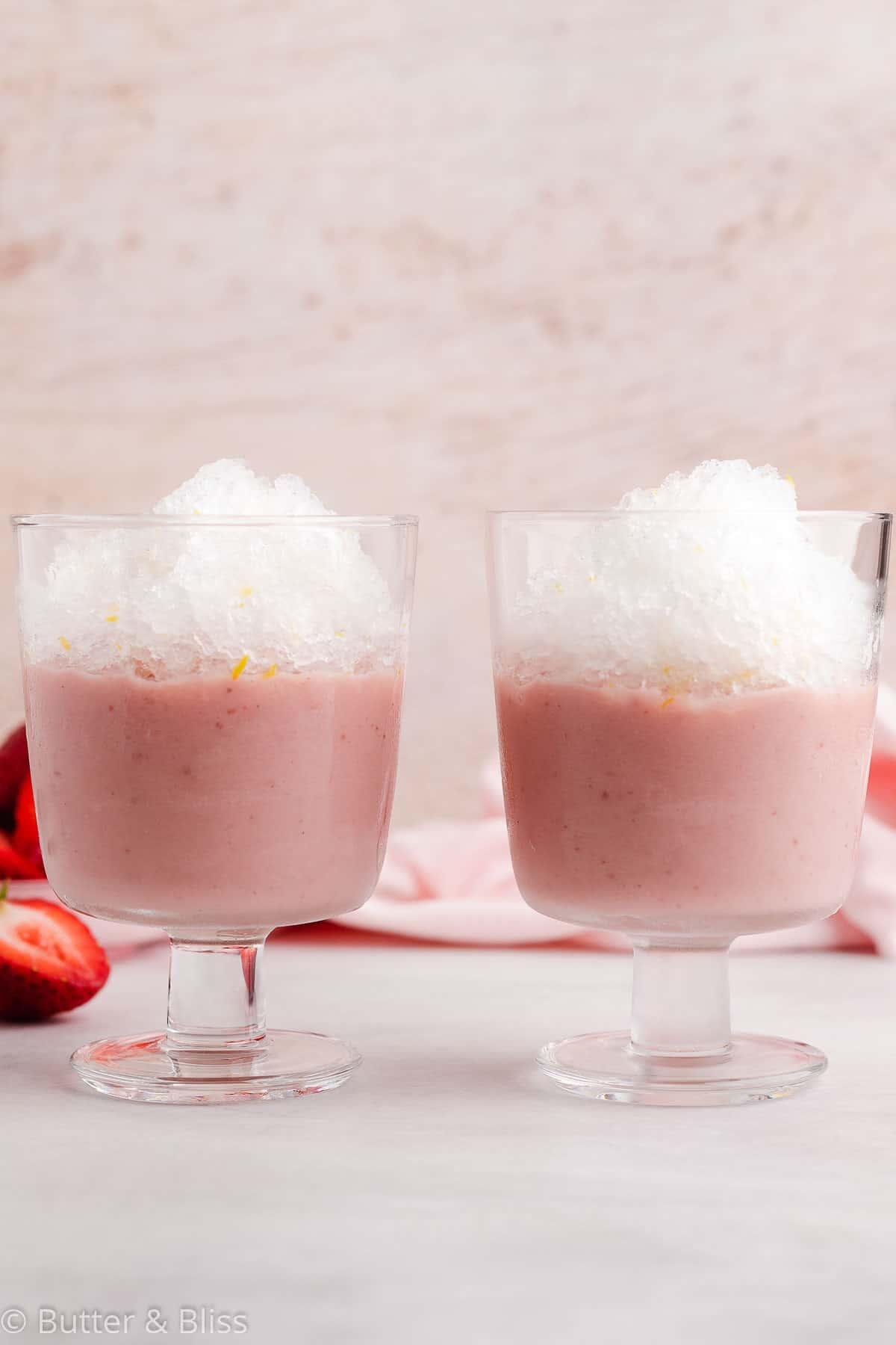 Two strawberry pudding lemonade granita parfaits