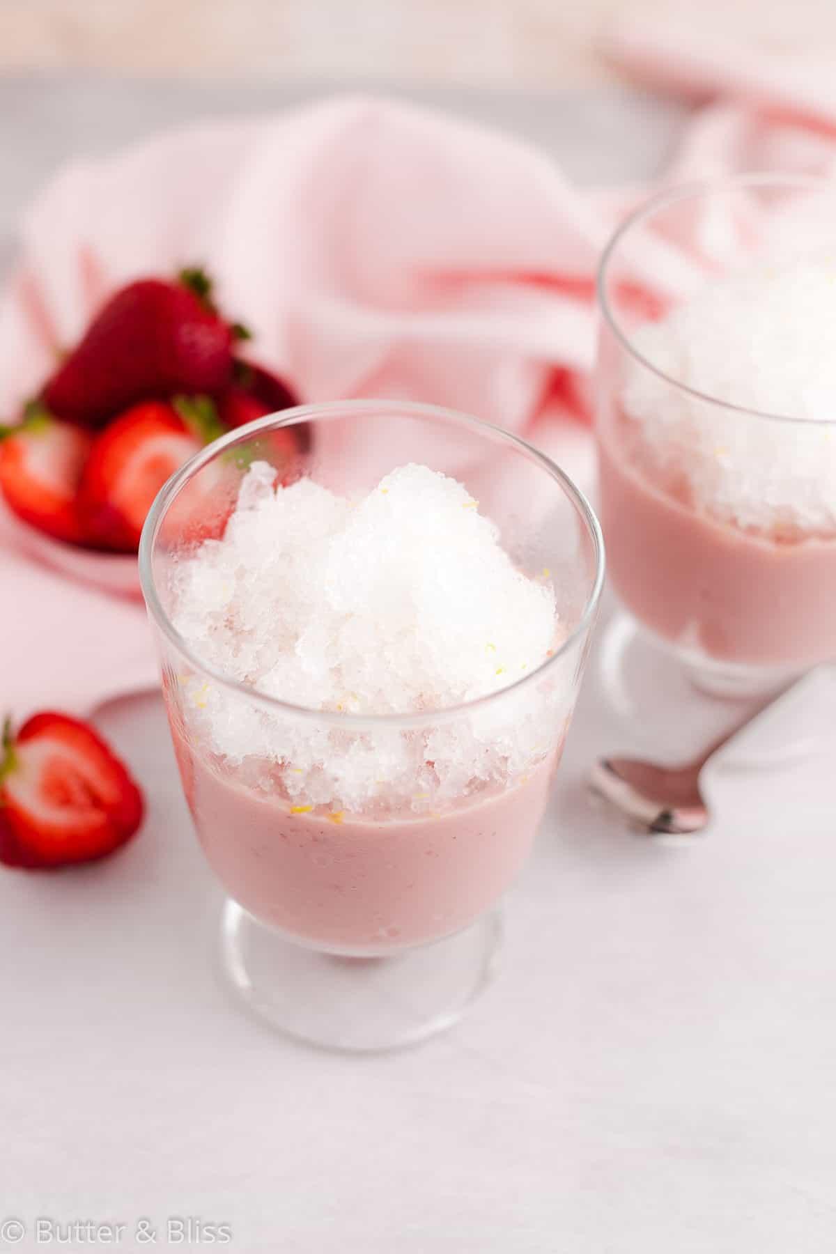 Top of a lemonade granita with strawberry pudding parfait