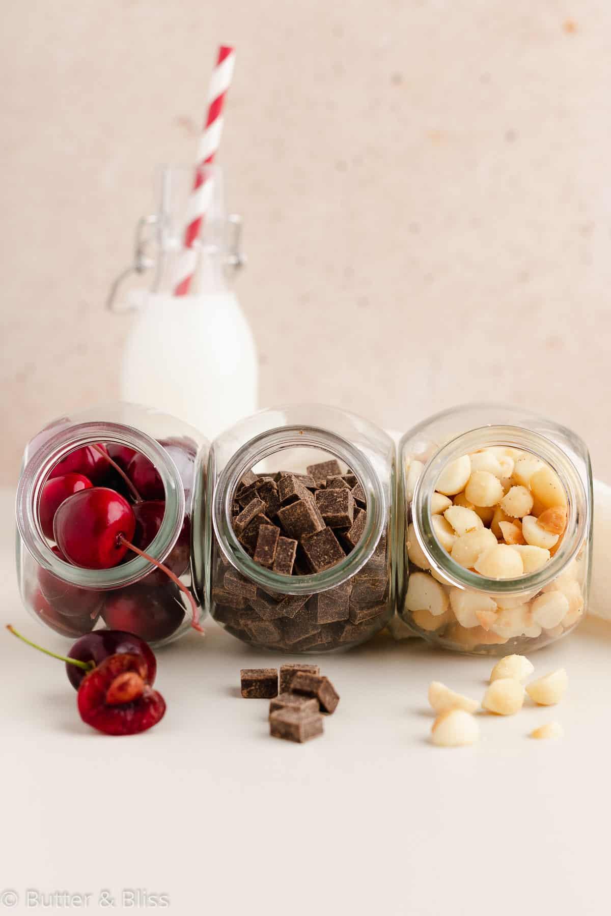 Ingredients in chocolate cherry macadamia nut blondies