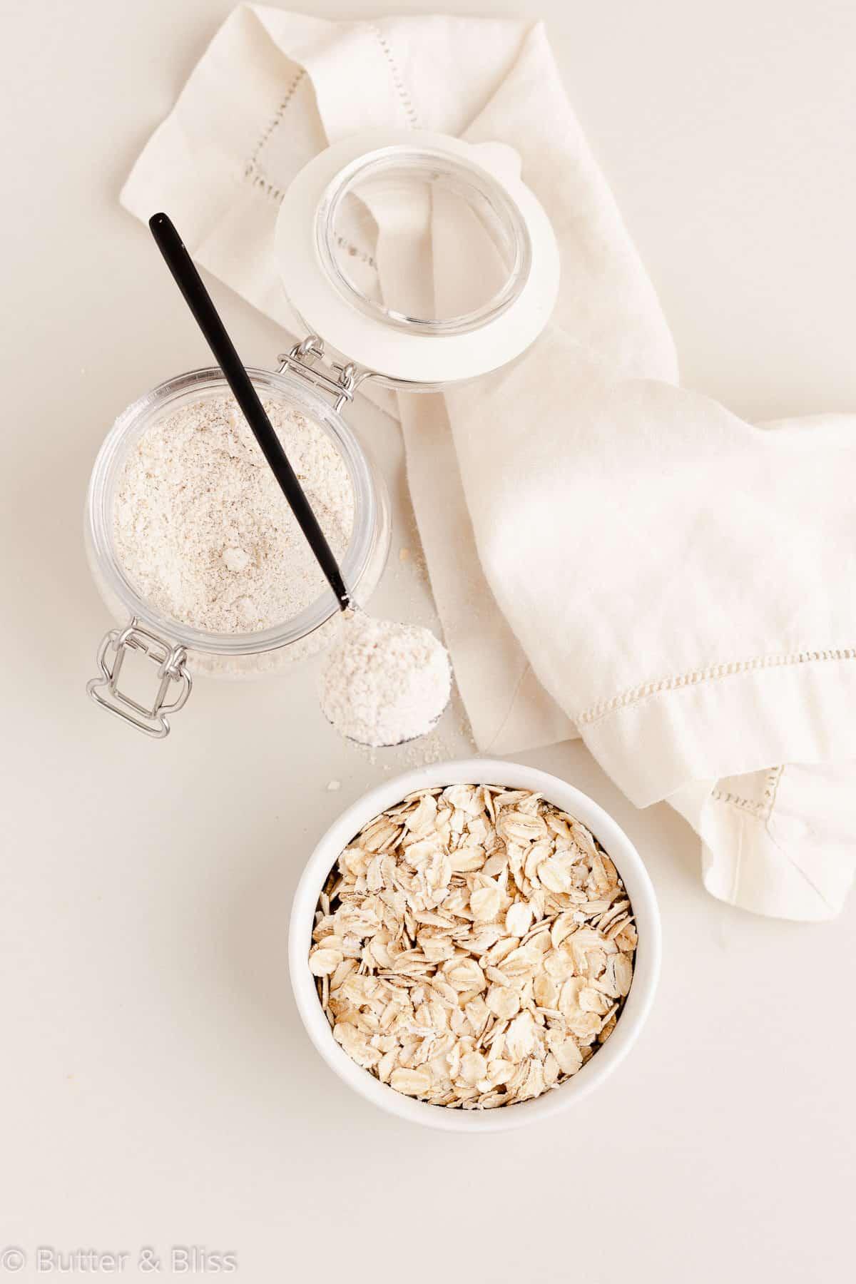 Gluten free oat flour for macadamia nut blondies
