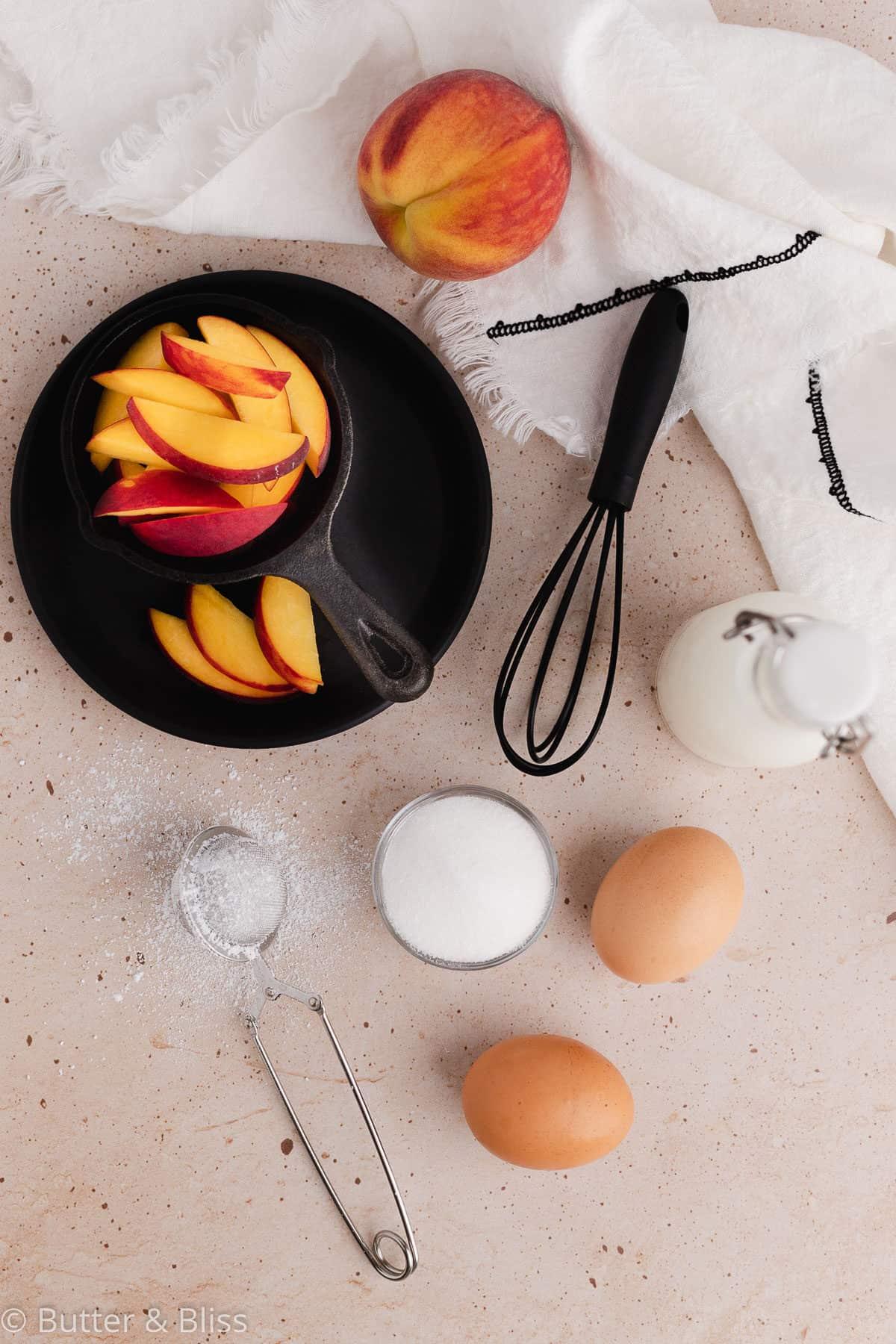 Ingredients for mini peach clafoutis
