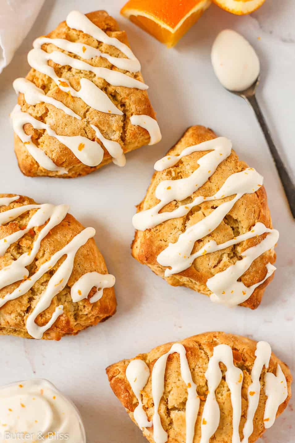 Orange scones with creamy icing