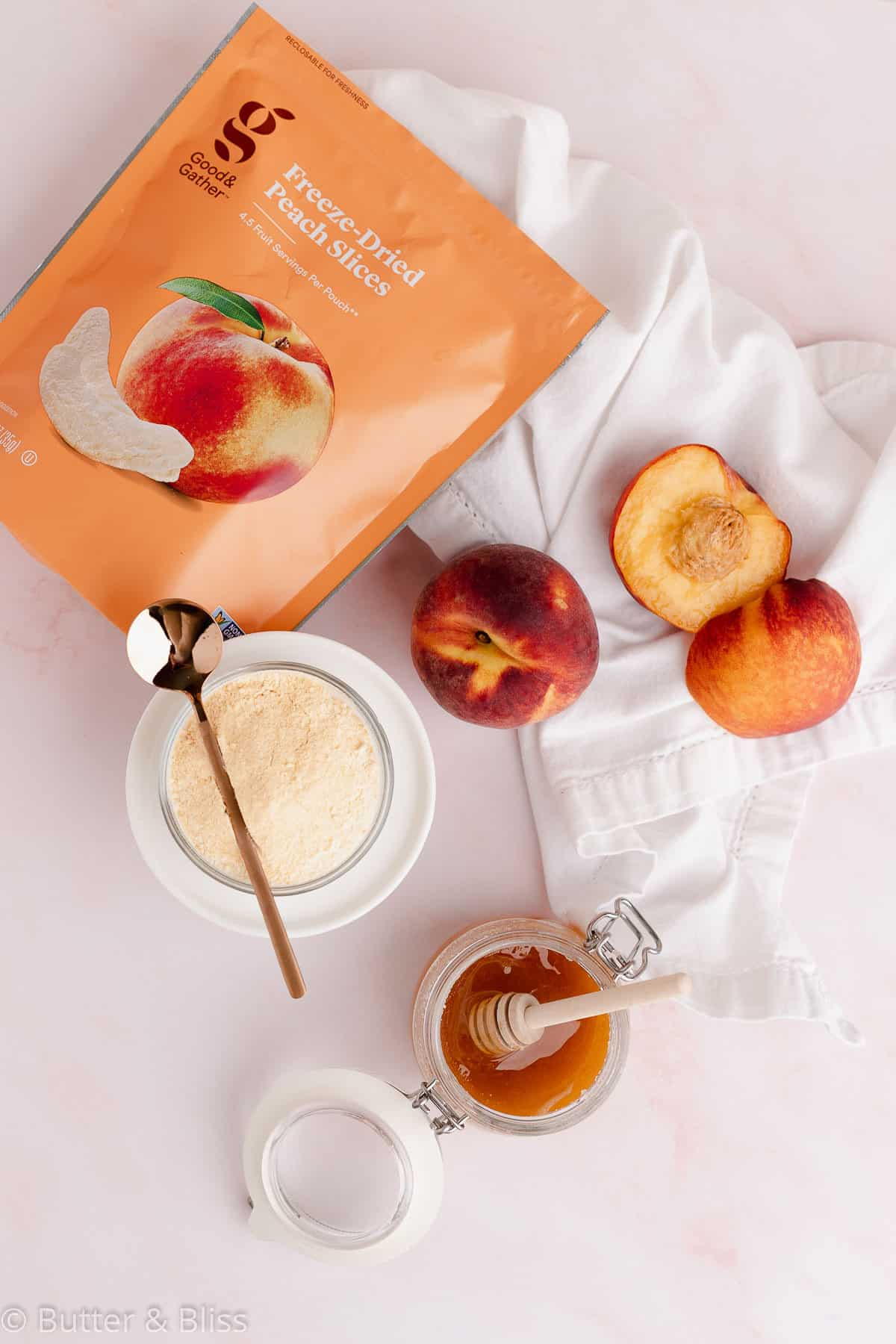 Ingredients for peach cupcakes
