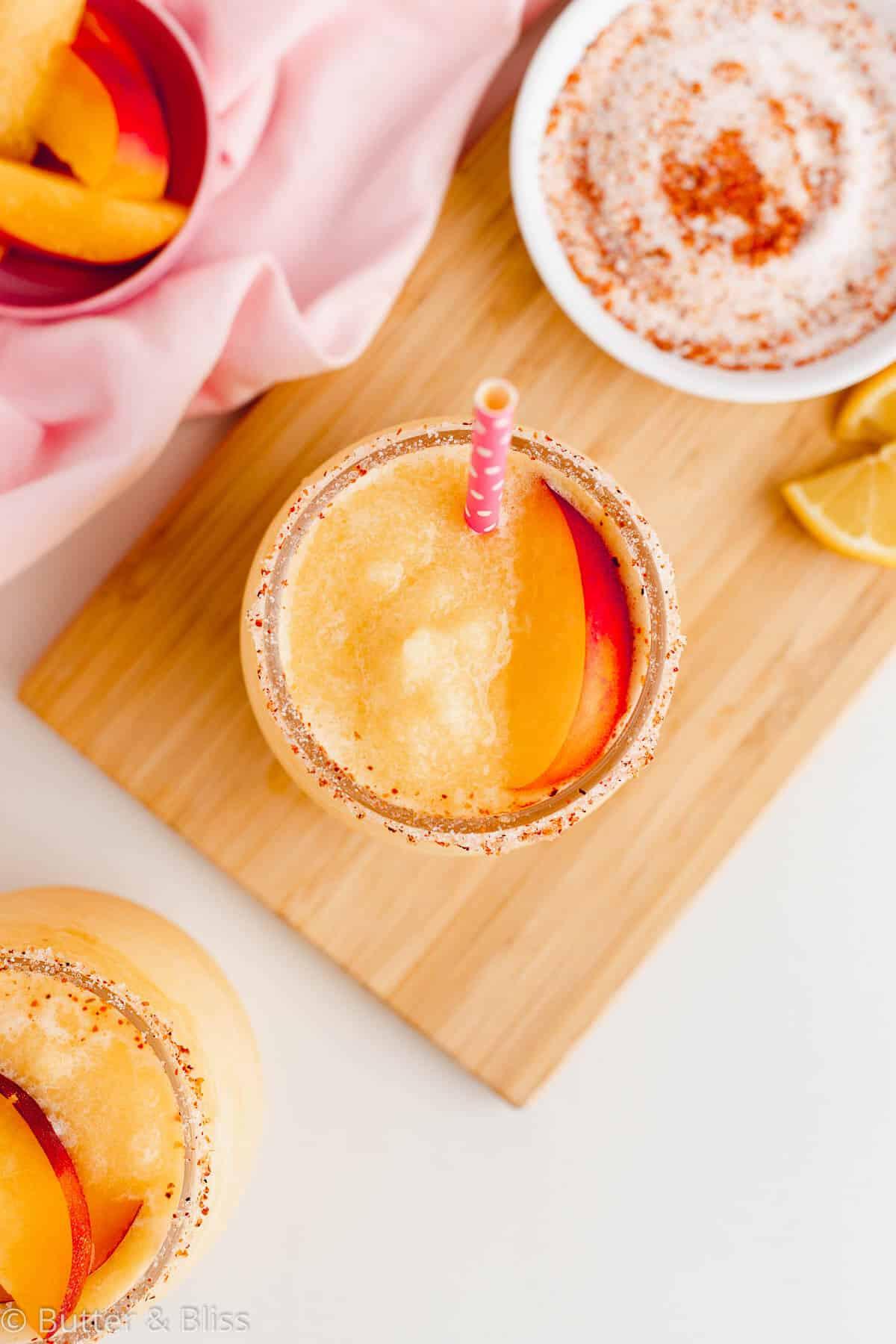 Top of frozen fruit summer beverage