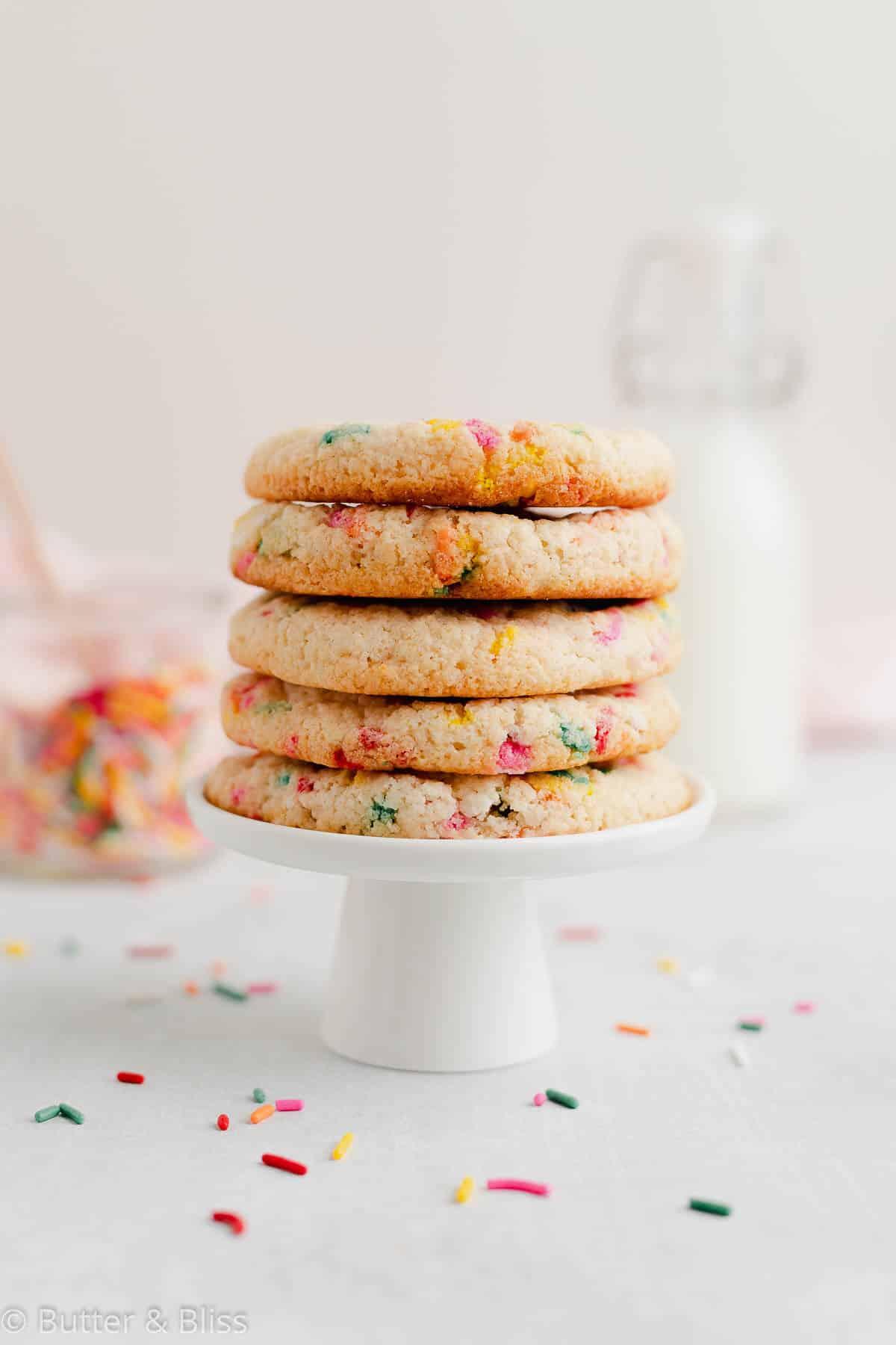 A stack of gluten free small batch funfetti sugar cookies