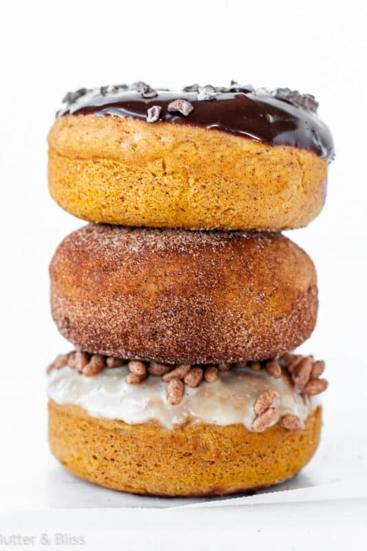 Baked pumpkin donuts stacked
