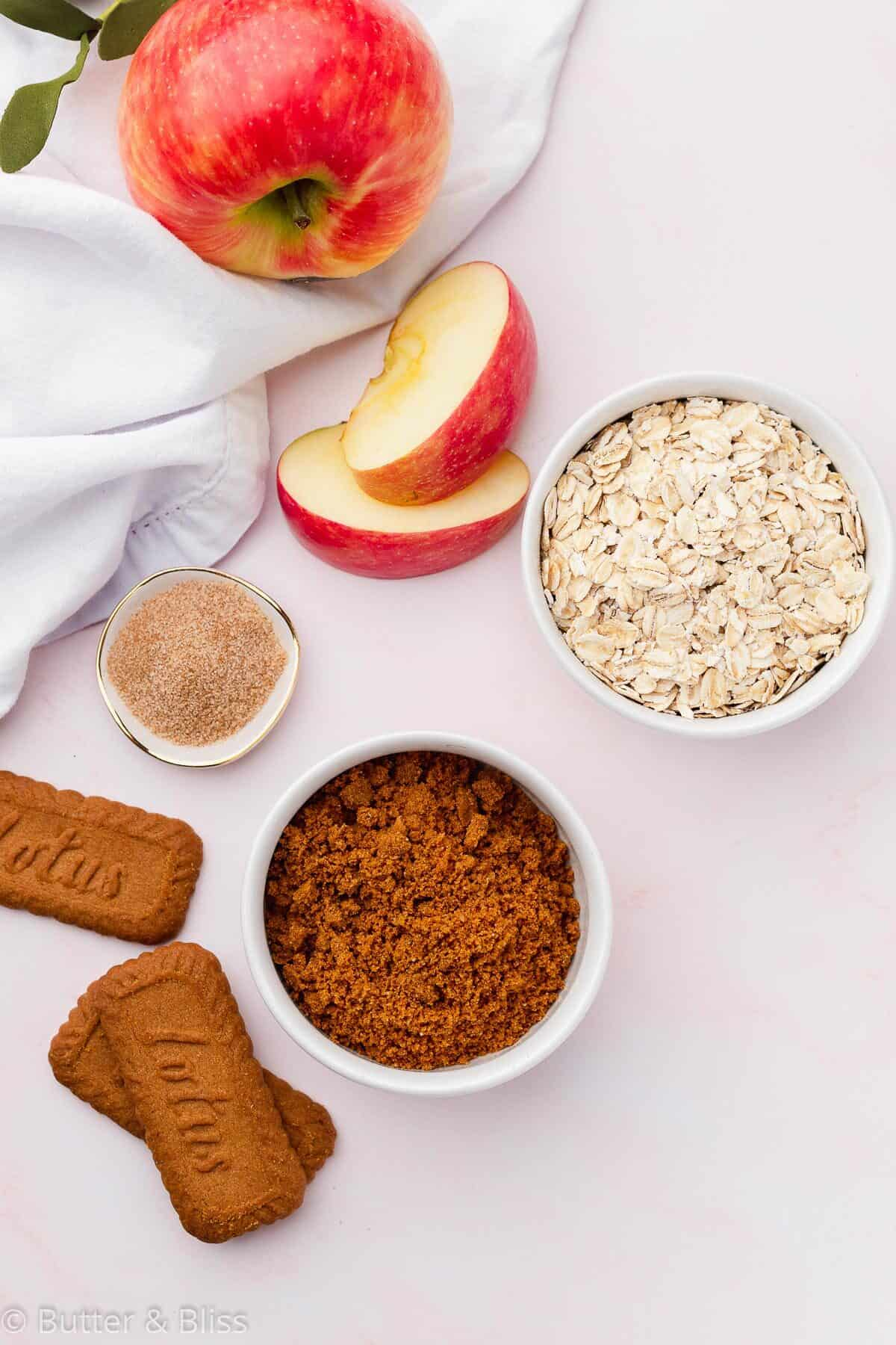 Ingredients for fall apple crisp