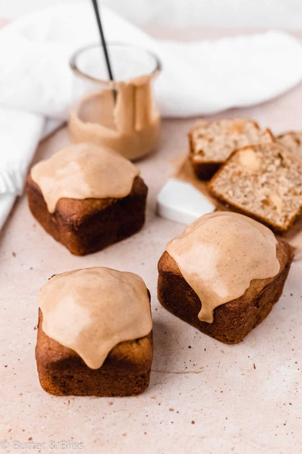 Small batch quick bread with fall flavors and icing