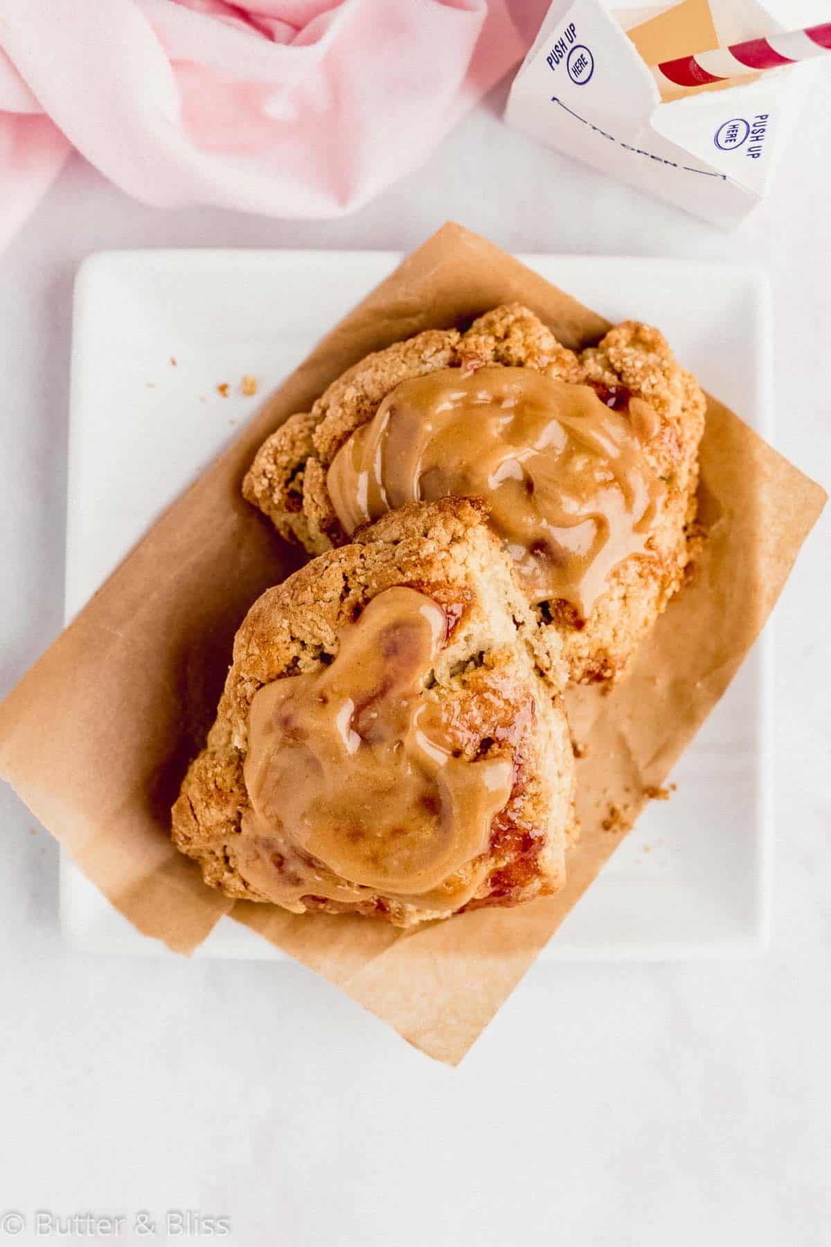 Peanut butter scones on a small plate