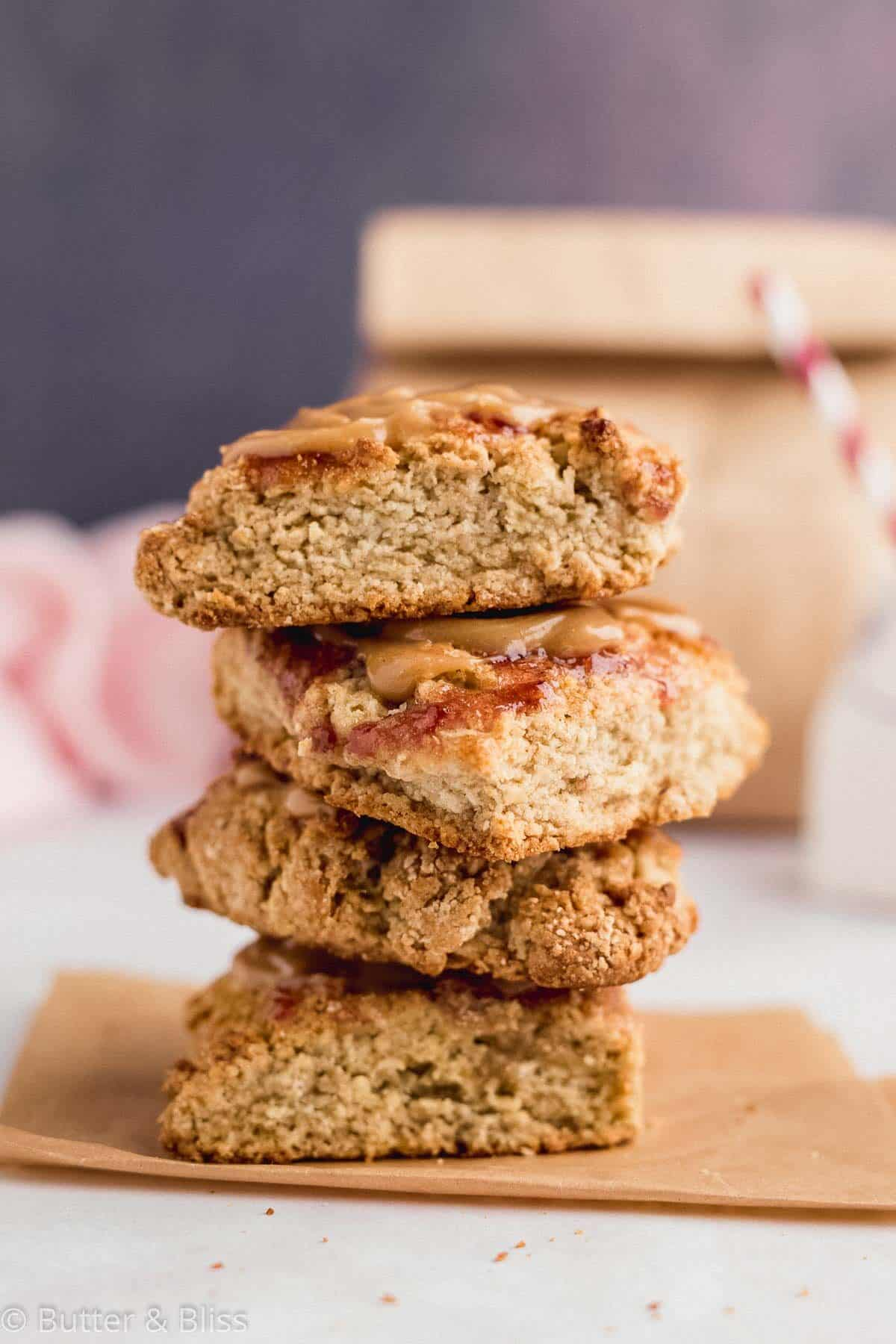 A stack of peanut butter and jelly scones