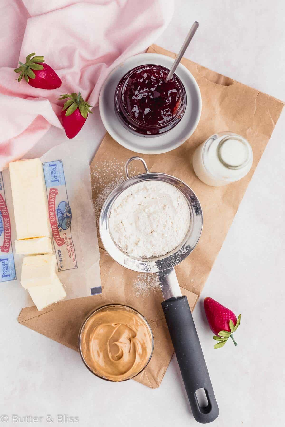 Ingredients for peanut butter and jelly scones
