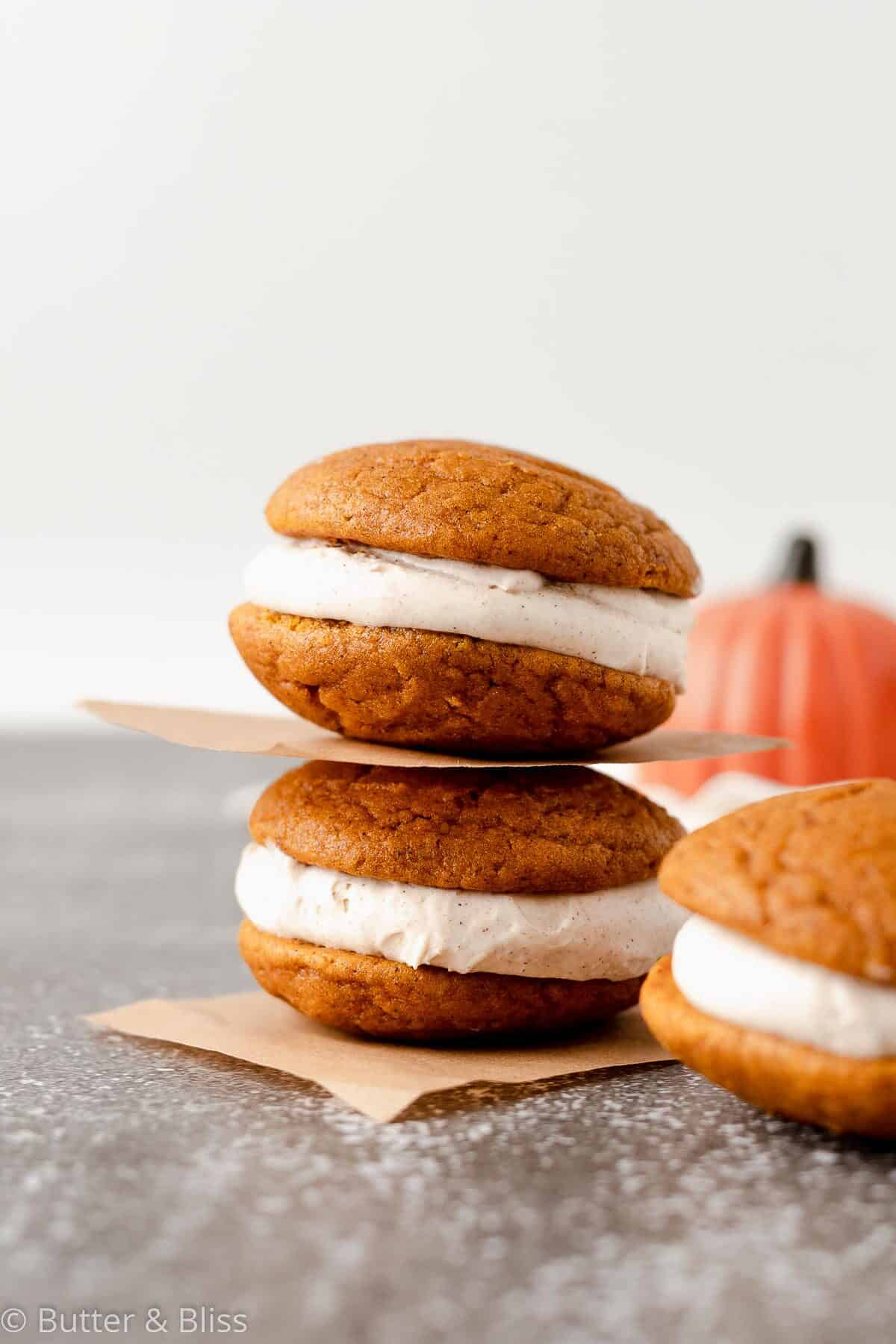 Fall flavored sandwich cookies in a stack