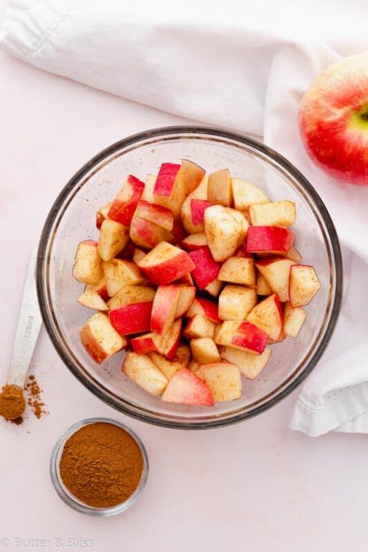 Fresh chopped apples in a bowl